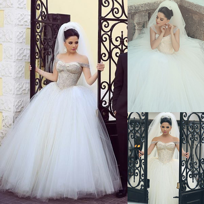 Princess Style Wedding Gowns: Princess Style Wedding Dresses Off-shoulder Straps Boob