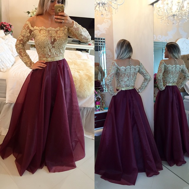 a563eab6c56 2016 Bateau Neck Long Sleeves Prom Dresses Gold Illusion Lace Beaded  Burgundy A-line Gorgeous